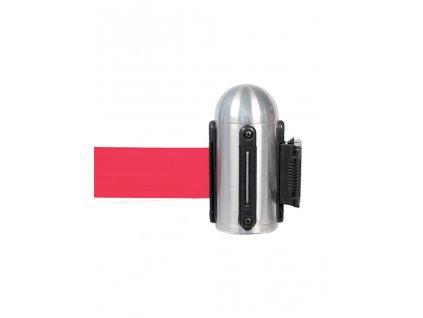 Nástěnný úchyt s natahovací páskou (Provedení sloupku leštěná ocel (nerez), Barva pásu šedá)