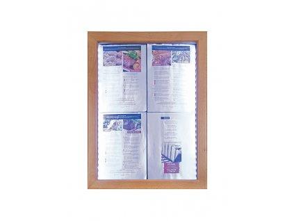 Osvětlená menu vitrína Securit Classic teak MCS-4A4-WLTE
