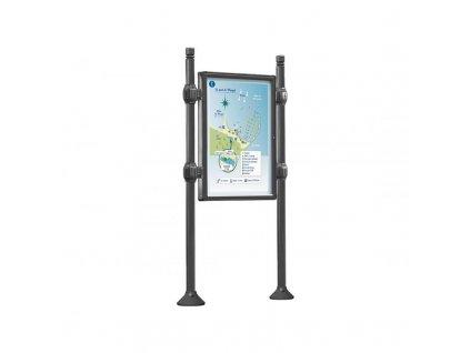 Tabulová informační vitrína jednostranná V 1200 x 800 mm, hlavice City, barva šedá Procity 530100.GPRO