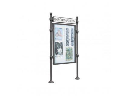 Tabulová informační vitrína oboustranná V 1200 x 800 mm se záhlavím, hlavice City, barva šedá Procity 590510.GPRO
