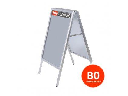 Reklamní áčko 1000x1400 mm (B0), ostrý roh, profil 32 mm, kovová záda