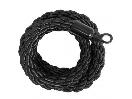 Splétaný provaz pro bariéry černý, 2m , černé koncovky STOP47/N