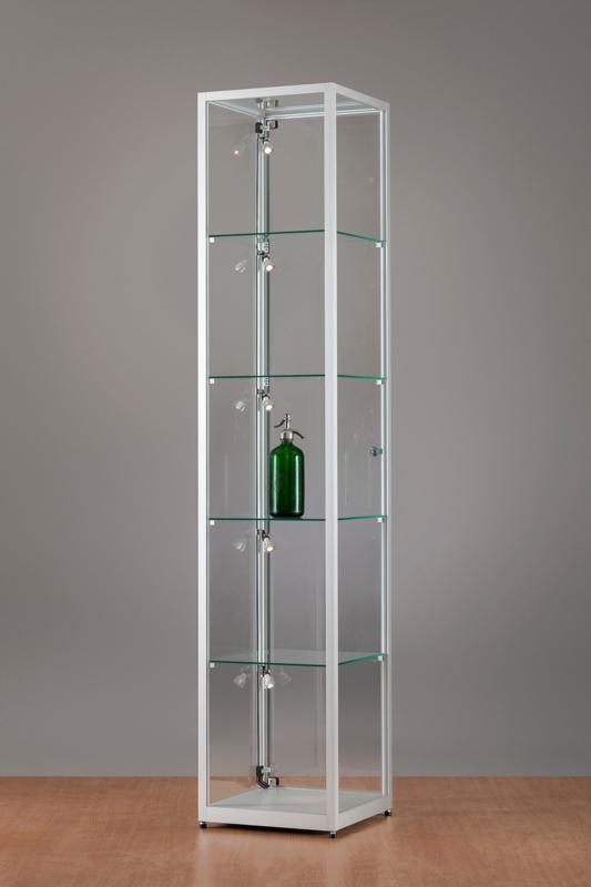 MH TECHNIC Skleněná vitrína 400x1984x400 mm, boční LED osvětlení
