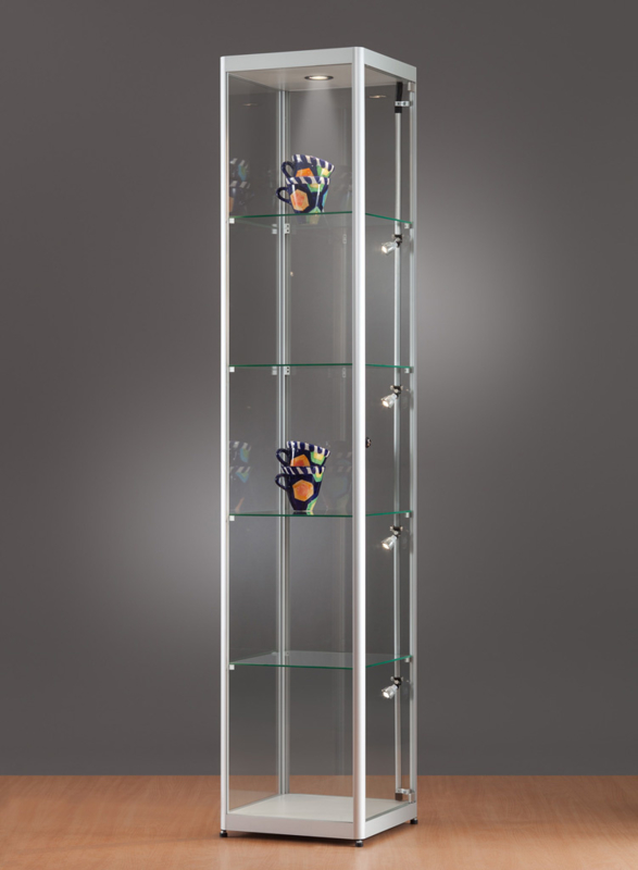 MH TECHNIC Skleněná vitrína 400x2000x400 mm, boční a stropní LED osvětlení
