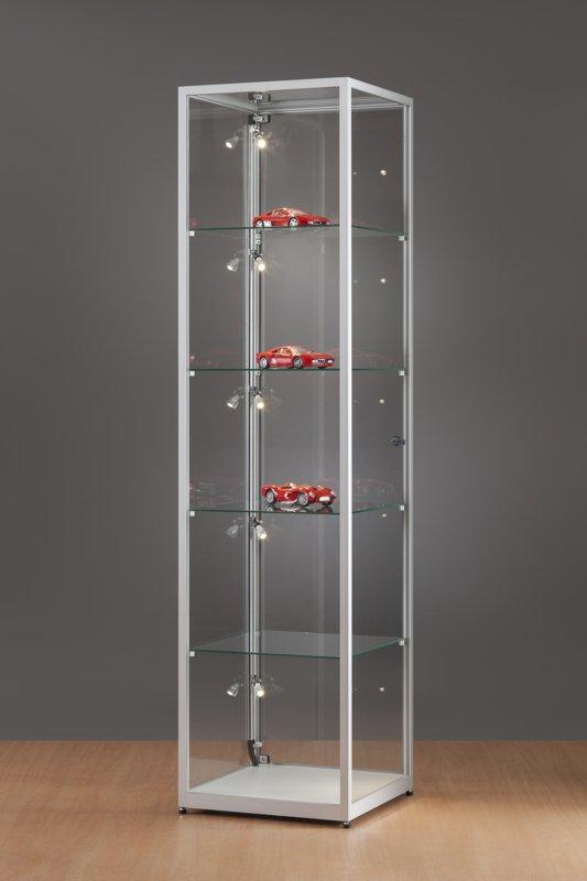 MH TECHNIC Skleněná vitrína 500x1984x500 mm, boční LED osvětlení
