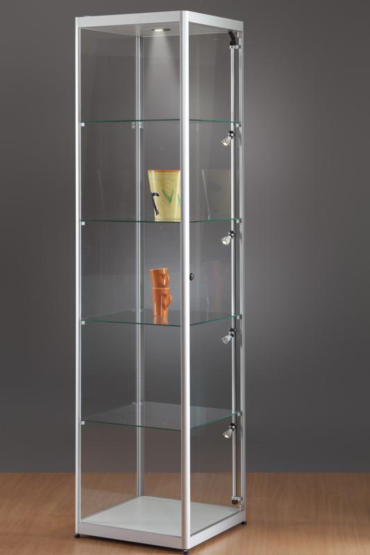 MH TECHNIC Skleněná vitrína 500x2000x500 mm, boční a stropní LED osvětlení