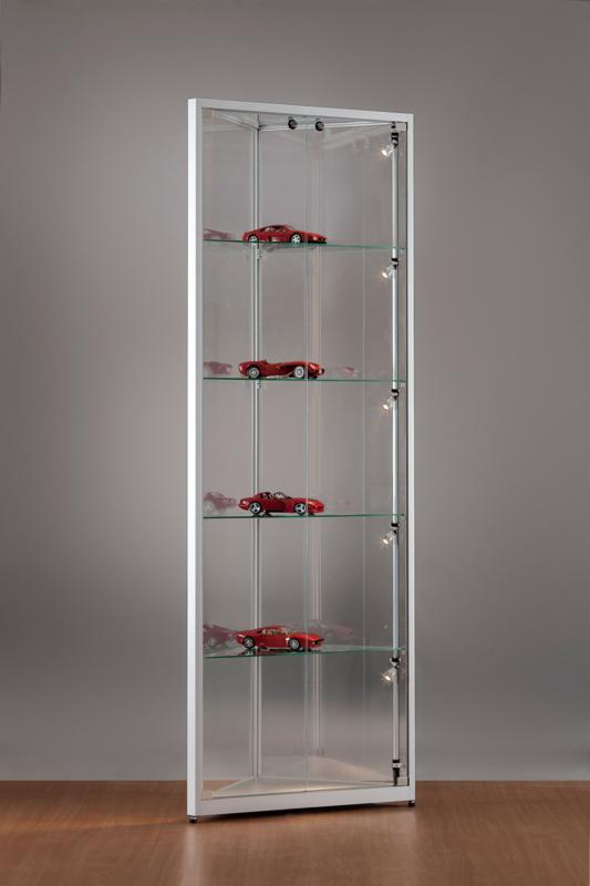 MH TECHNIC Rohová skleněná vitrína 500x1984x500 mm, boční LED osvětlení