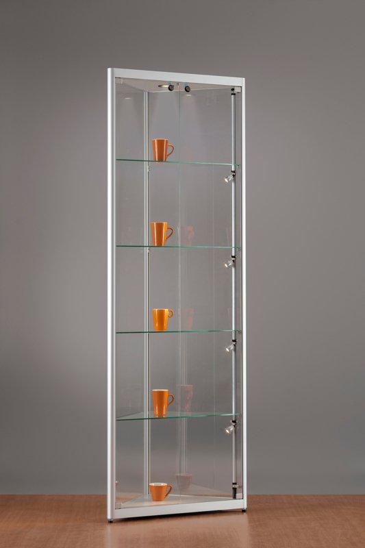 MH TECHNIC Rohová skleněná vitrína 500x2000x500 mm, boční a stropní LED osvětlení
