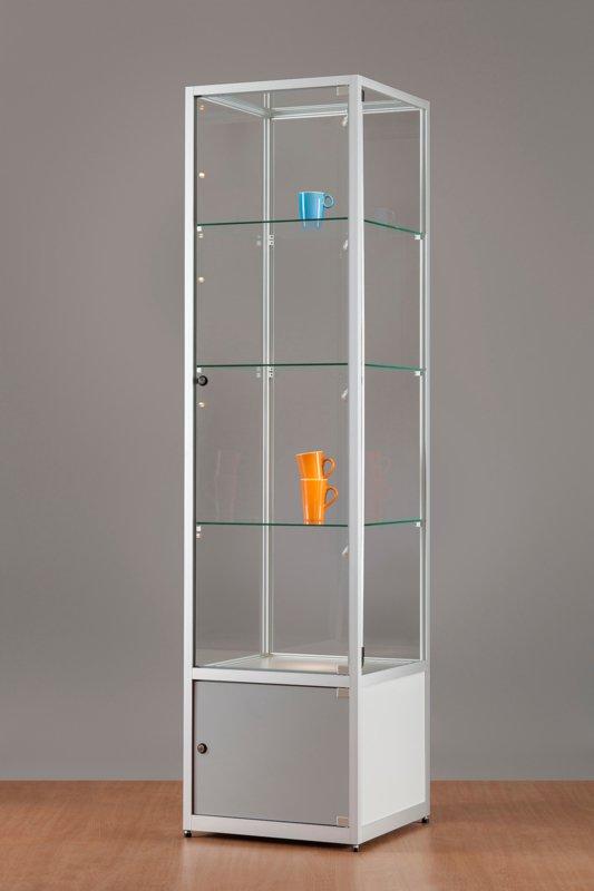 MH TECHNIC Skleněná vitrína 500x1984x500 mm s úložným prostorem, boční LED osvětlení