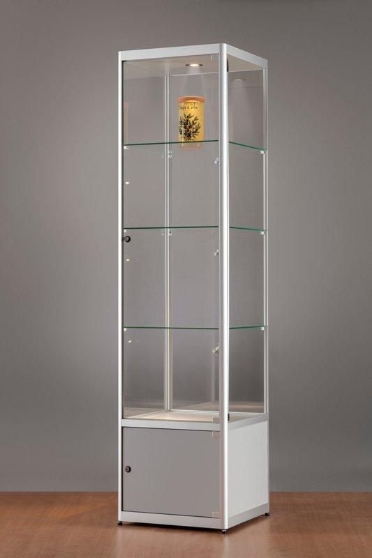 MH TECHNIC Skleněná vitrína 500x2000x500 mm s úložným prostorem, boční a stropní LED osvětlení