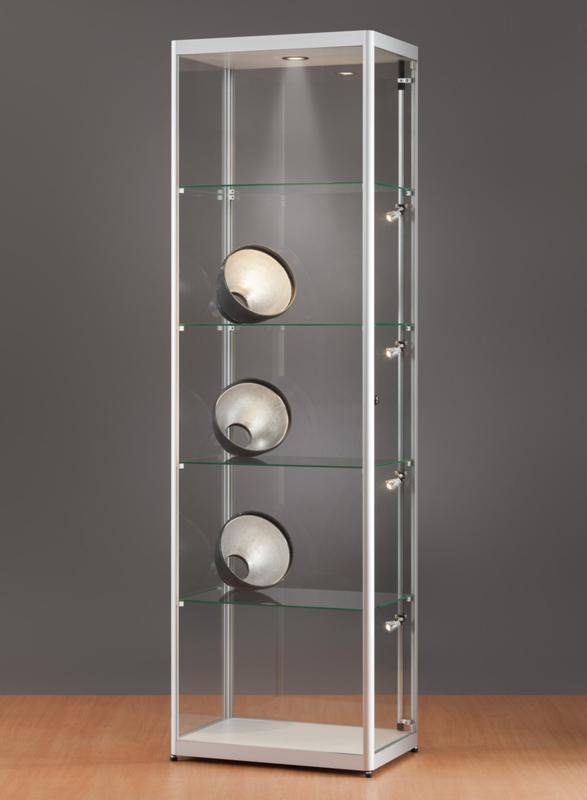 MH TECHNIC Skleněná vitrína 600x2000x400 mm, boční a stropní LED osvětlení