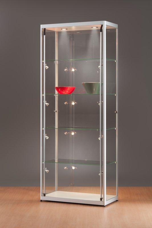 MH TECHNIC Skleněná vitrína 800x2000x400 mm, boční a stropní LED osvětlení