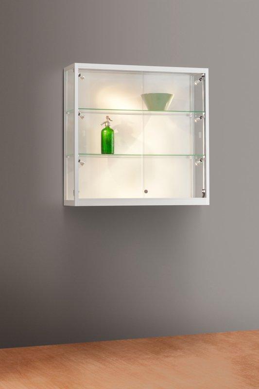 MH TECHNIC Nástěnná skleněná vitrína 1000x984x300 mm, boční LED osvětlení