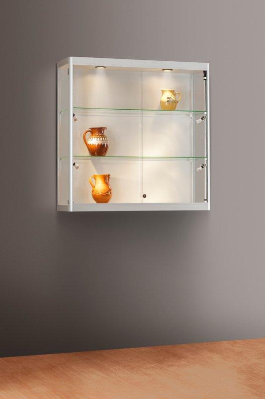 MH TECHNIC Nástěnná skleněná vitrína 1000x984x300 mm, boční a stropní LED osvětlení