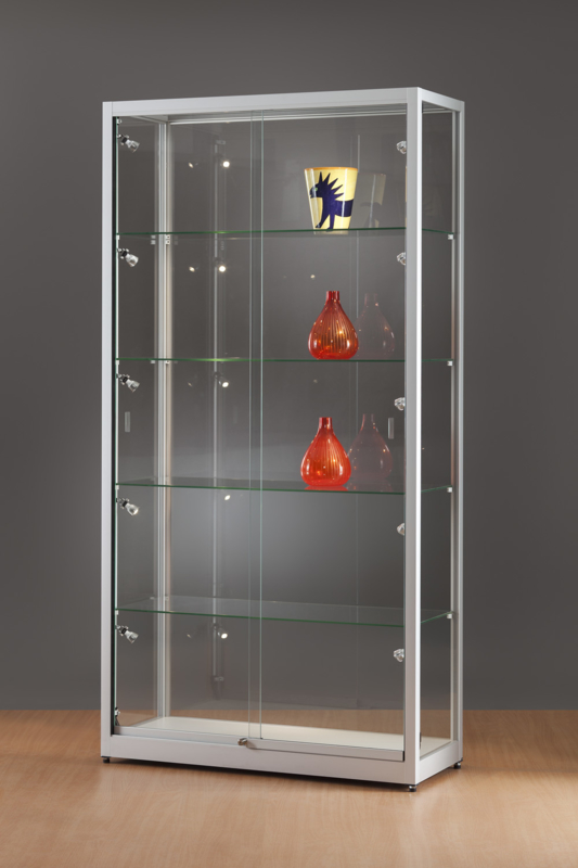 MH TECHNIC Skleněná vitrína 1000x1984x400 mm, boční LED osvětlení