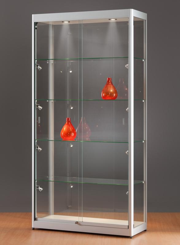 MH TECHNIC Skleněná vitrína 1000x2000x400 mm, boční a stropní LED osvětlení