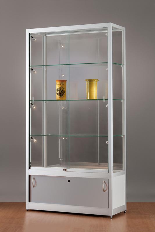 MH TECHNIC Skleněná vitrína 1000x1984x400 mm s úložným prostorem, boční LED osvětlení