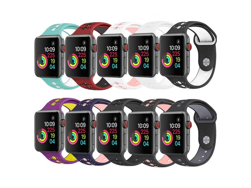 Perforovaný dvojbarevný pásek s malými otvory pro Apple Watch pro 38/40mm a 42/44mm (Barva zelená bílá, Velikost 42/44)