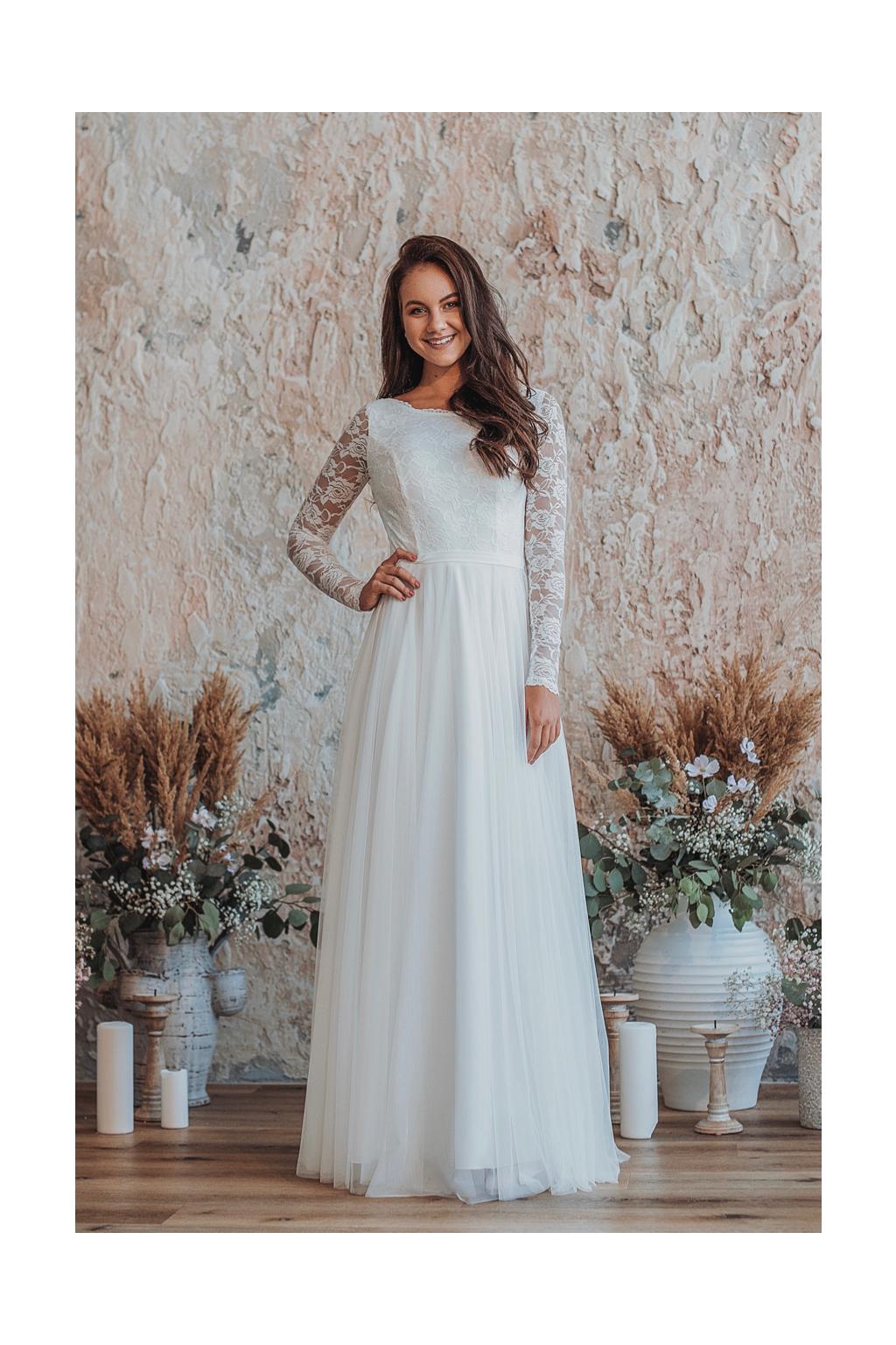 Dlouhé svatební šaty Elie s rukávy