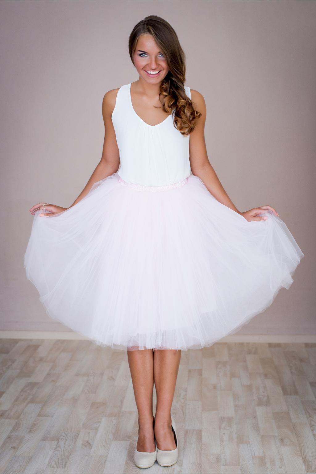 Dámská tylová TUTU sukně růžová nad kolená - 50 cm