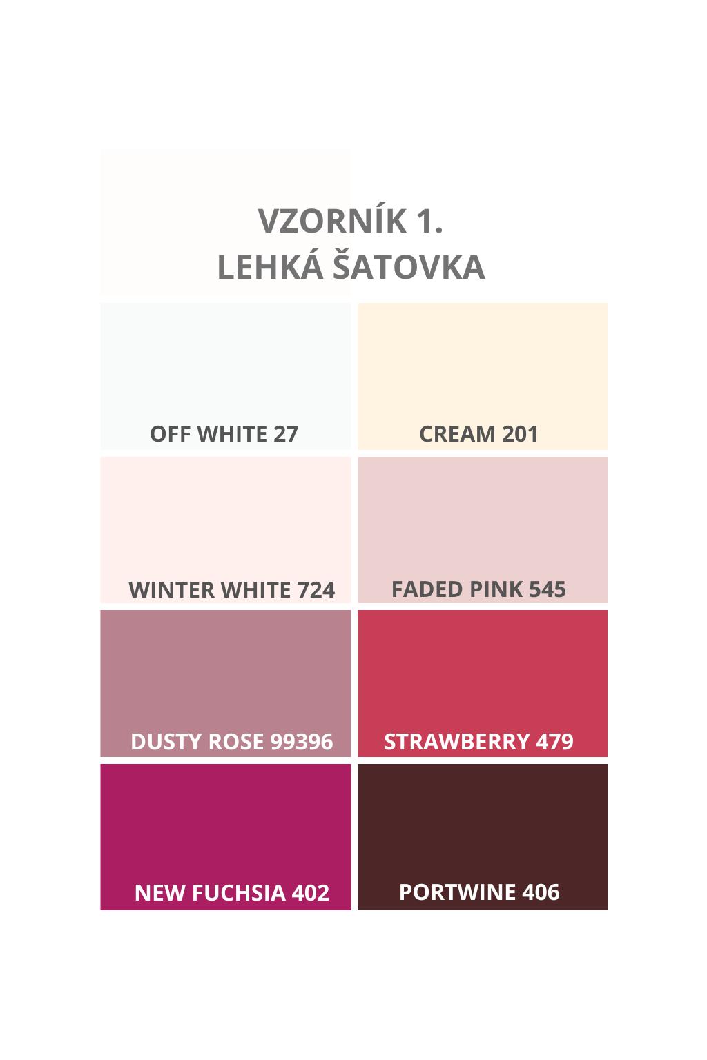 Vzorník barev - odstíny krémové