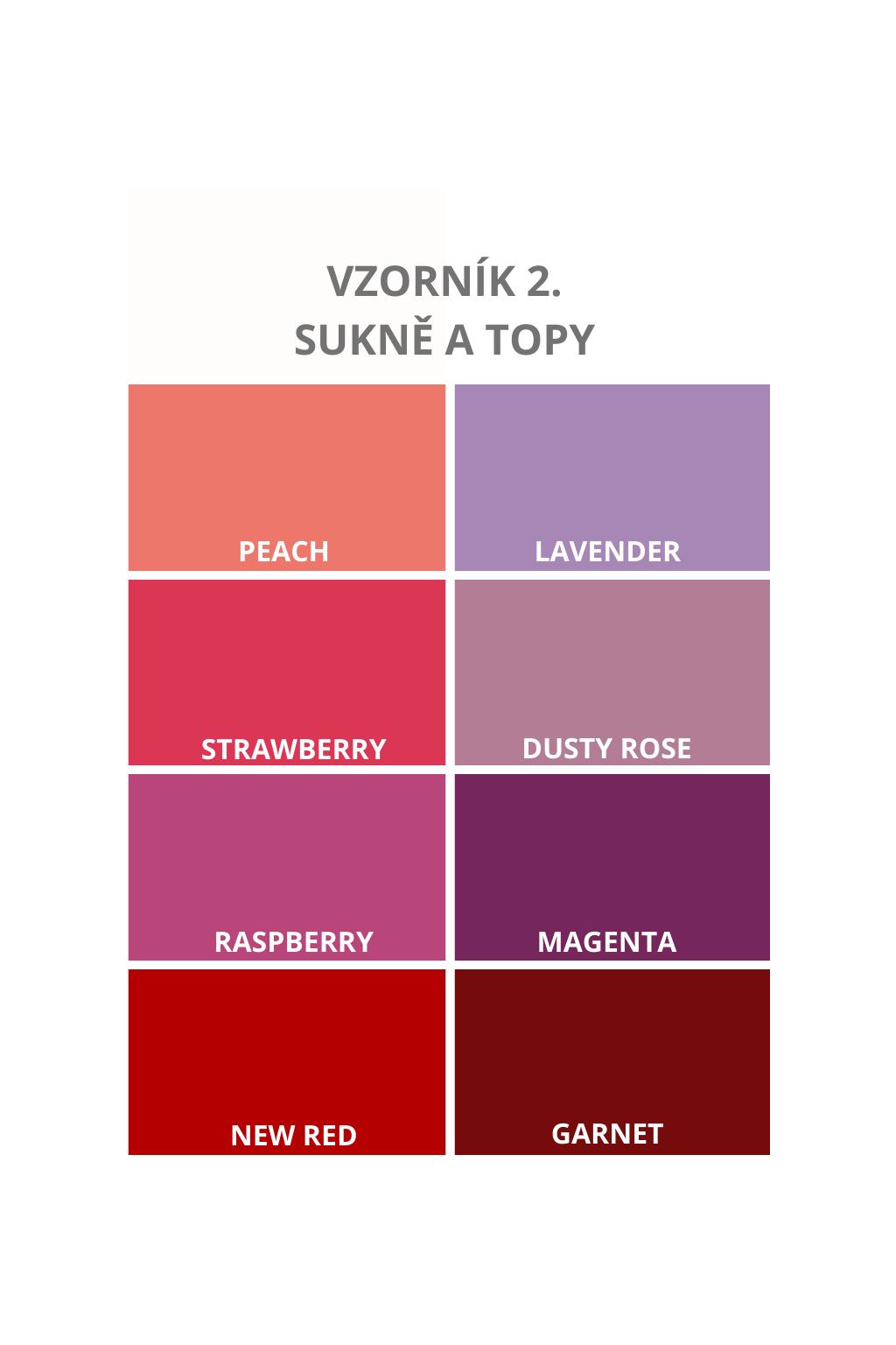 Vzorník barev - odstíny růžové