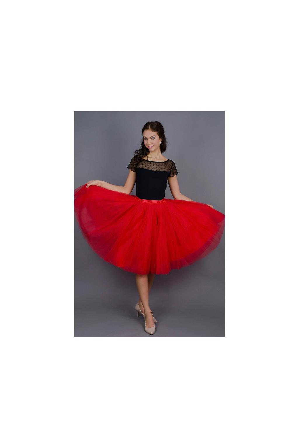 Dámská tylová TUTU sukně červená - MiaBella f7c71ab6a4