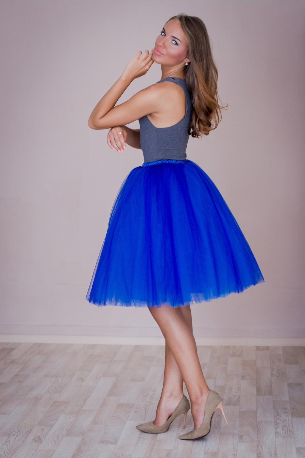 Dámská tylová TUTU sukně tmavě modrá pod kolená - 60 cm