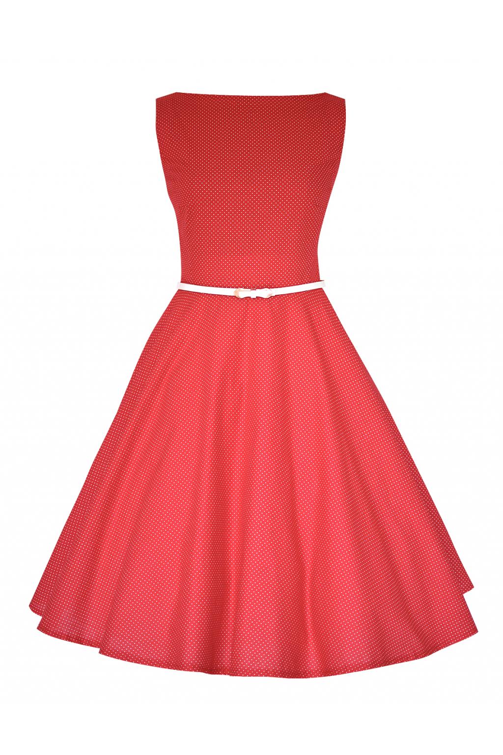 SUSAN retro šaty červené s mini puntíkem