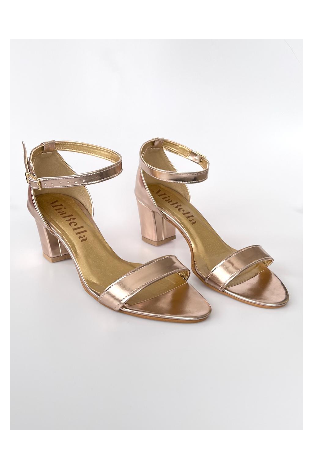 rose-gold sandálky na podpatku
