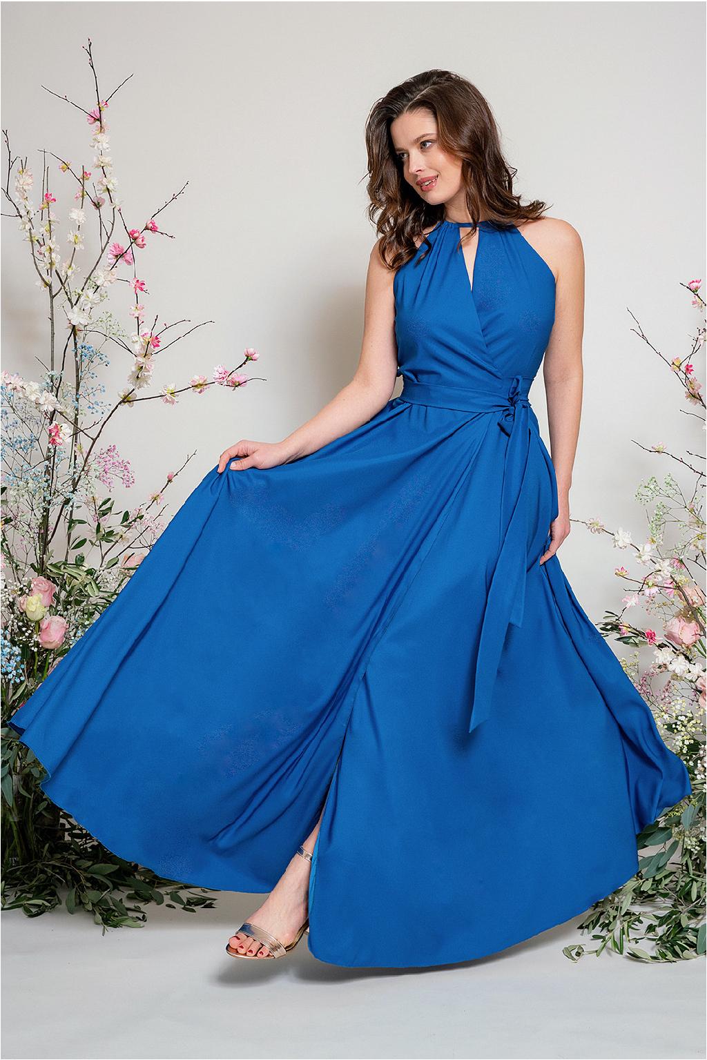 Dlouhé zavinovací šaty s vázaním za krk 1