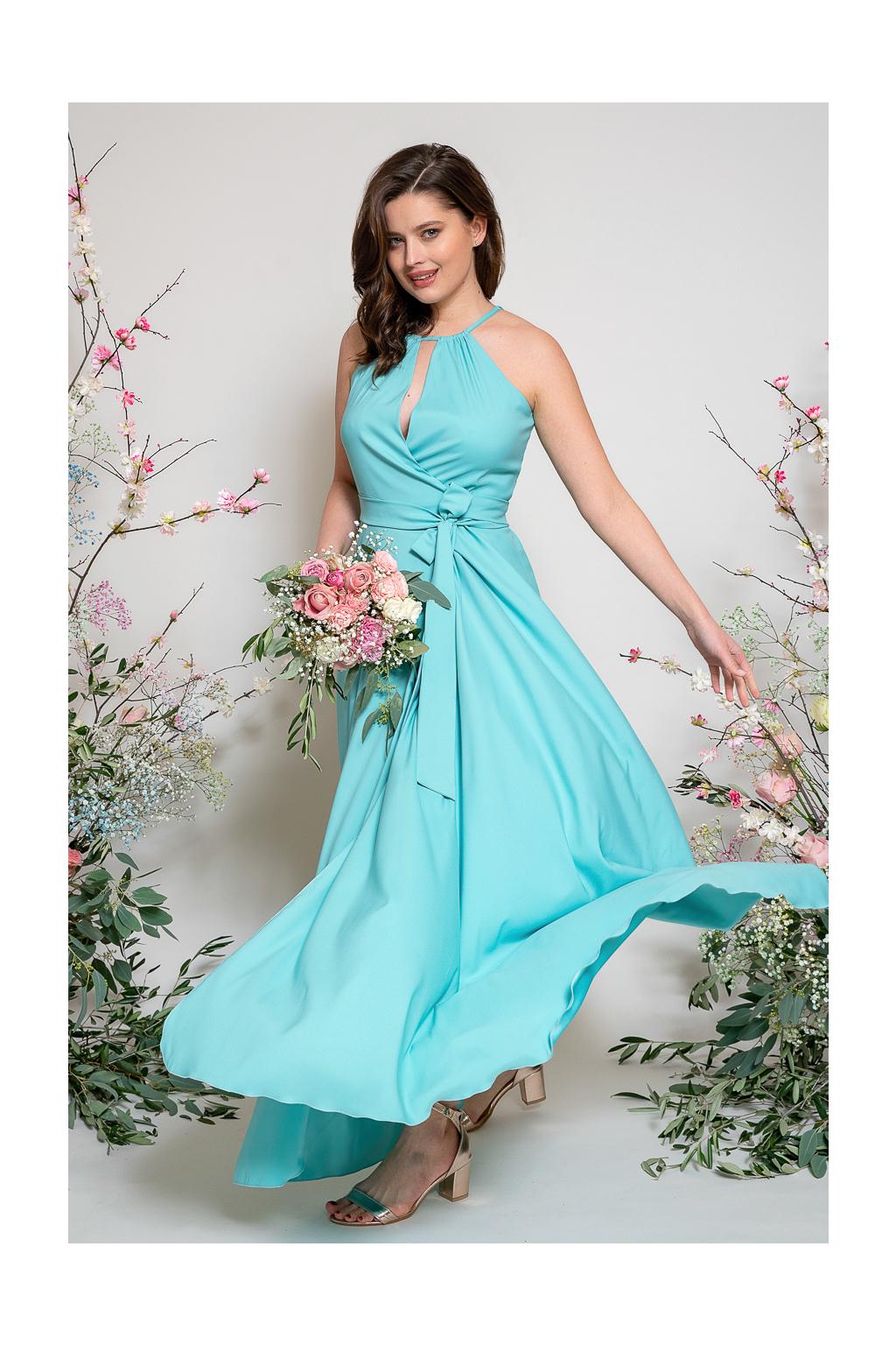 Dlouhé zavinovací šaty s vázaním za krk 2