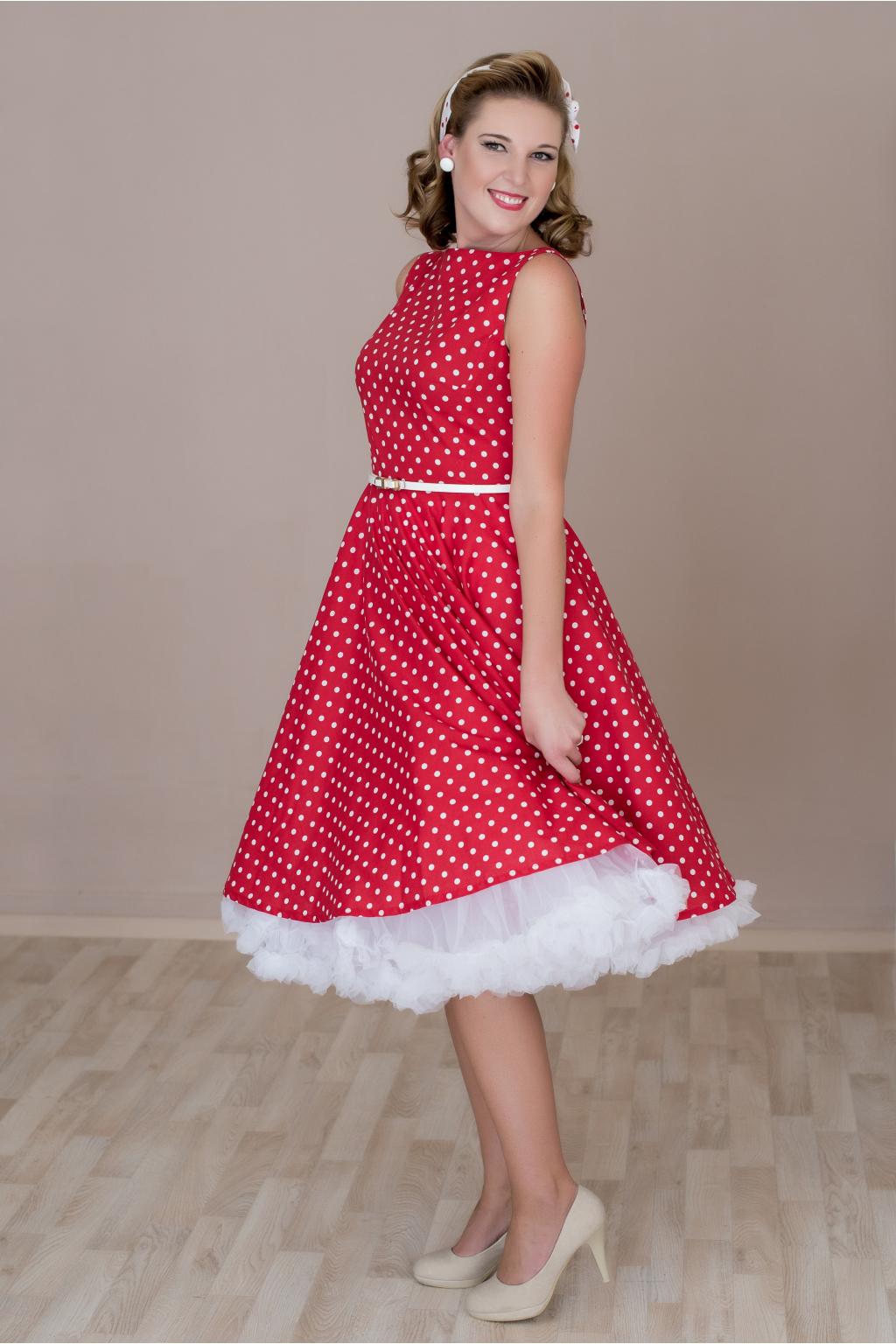 SUSAN červené retro šaty s bílým puntíkem