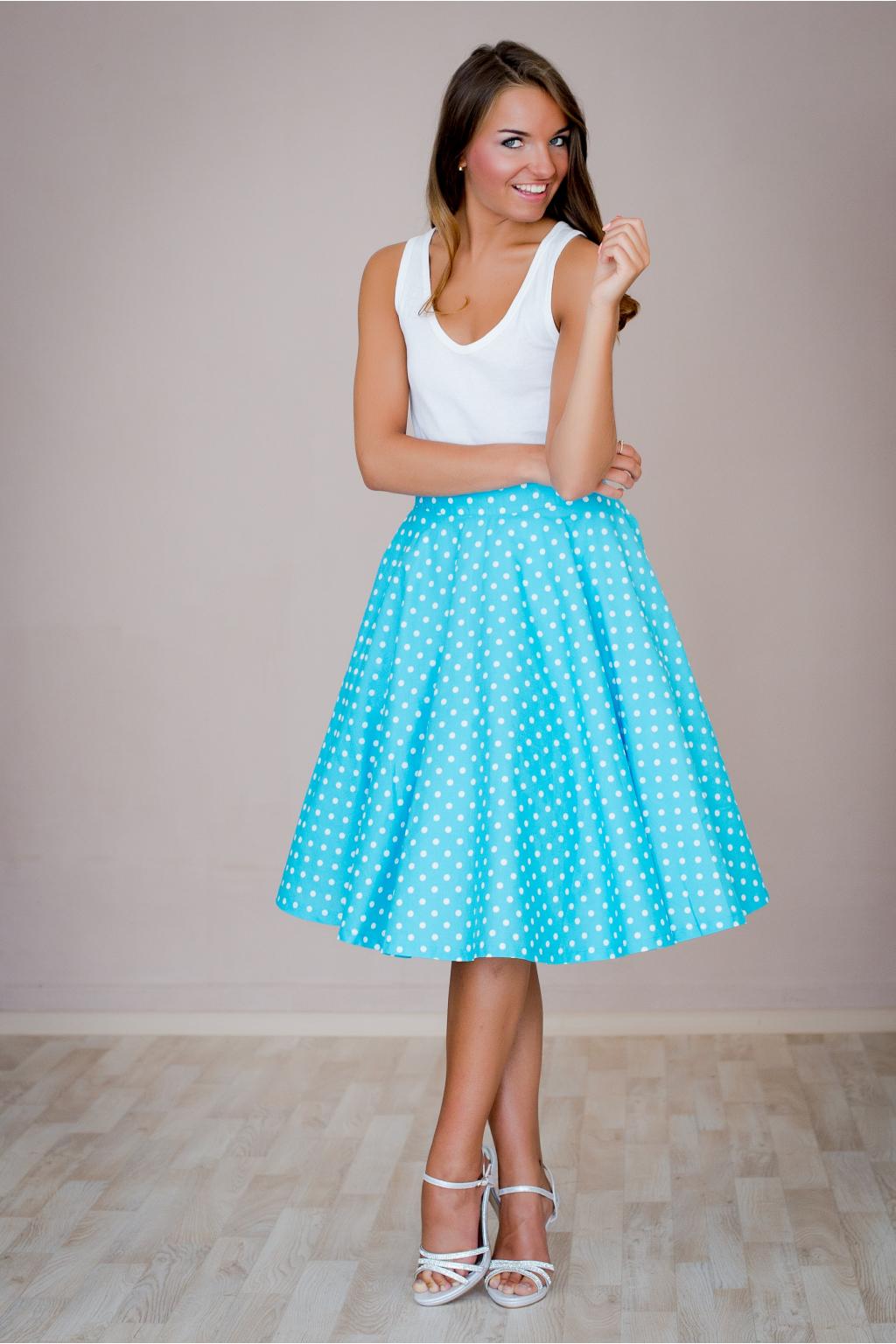 2f4f06d6b69e Kolová sukně modrá s puntíkem - MiaBella