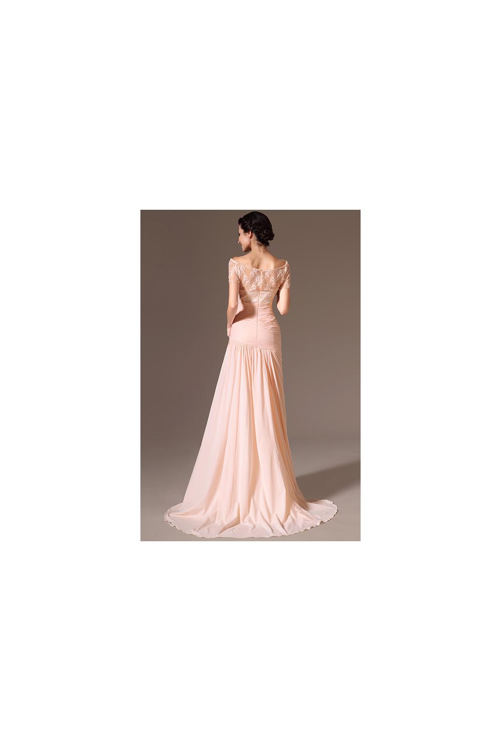Meruňkové plesové šaty s vlečkou - vel. 40 a 42 - MiaBella ffd535e882b
