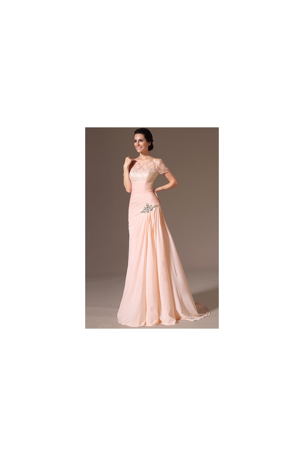 Meruňkové plesové šaty s vlečkou - vel. 40 a 42 - MiaBella e983bf6c023