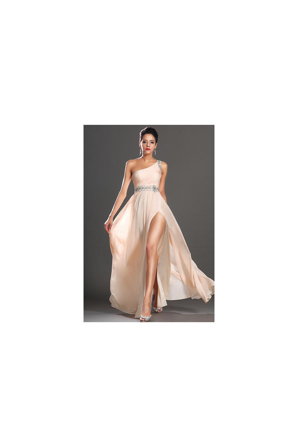 Meruňkové plesové šaty na jedno rameno, vel. 38/40 a vel.40