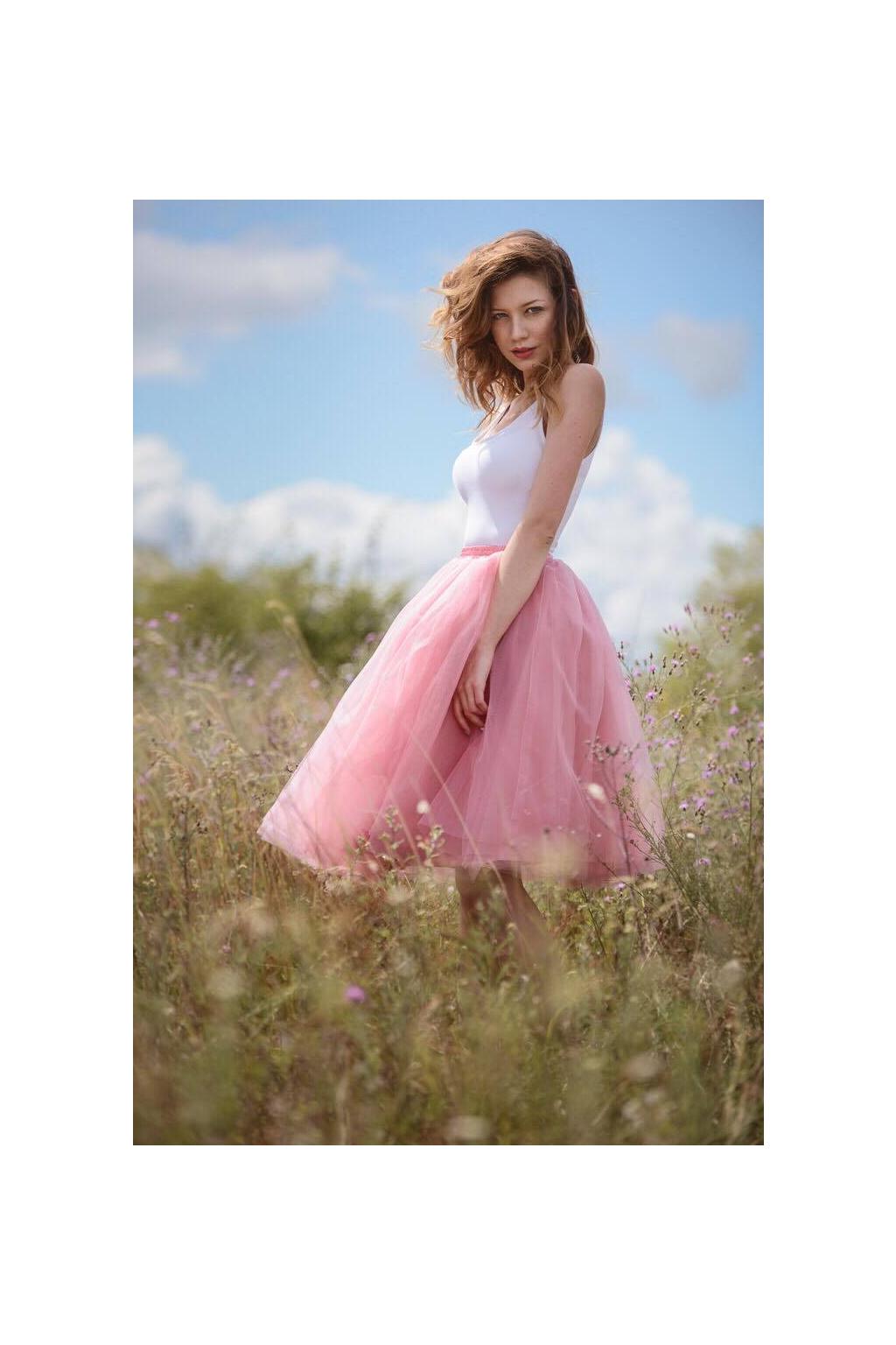 Dámská tylová TUTU sukně pudrová ružová