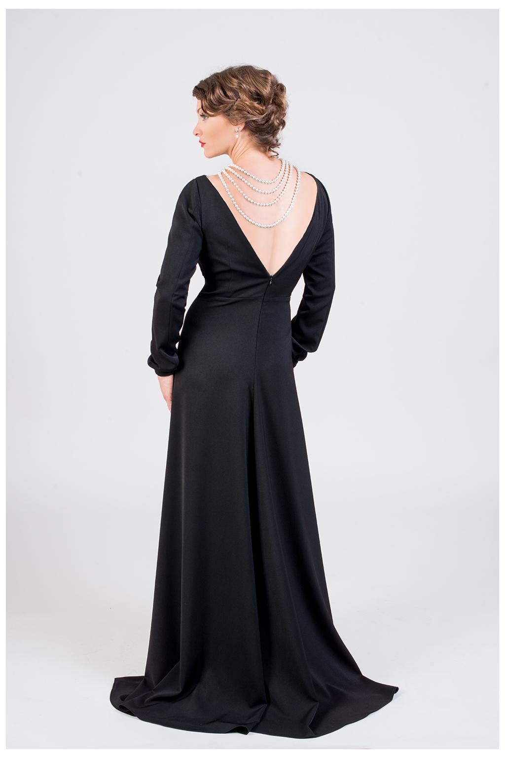 Dlouhé společenské šaty černé - MiaBella f7c14a9383