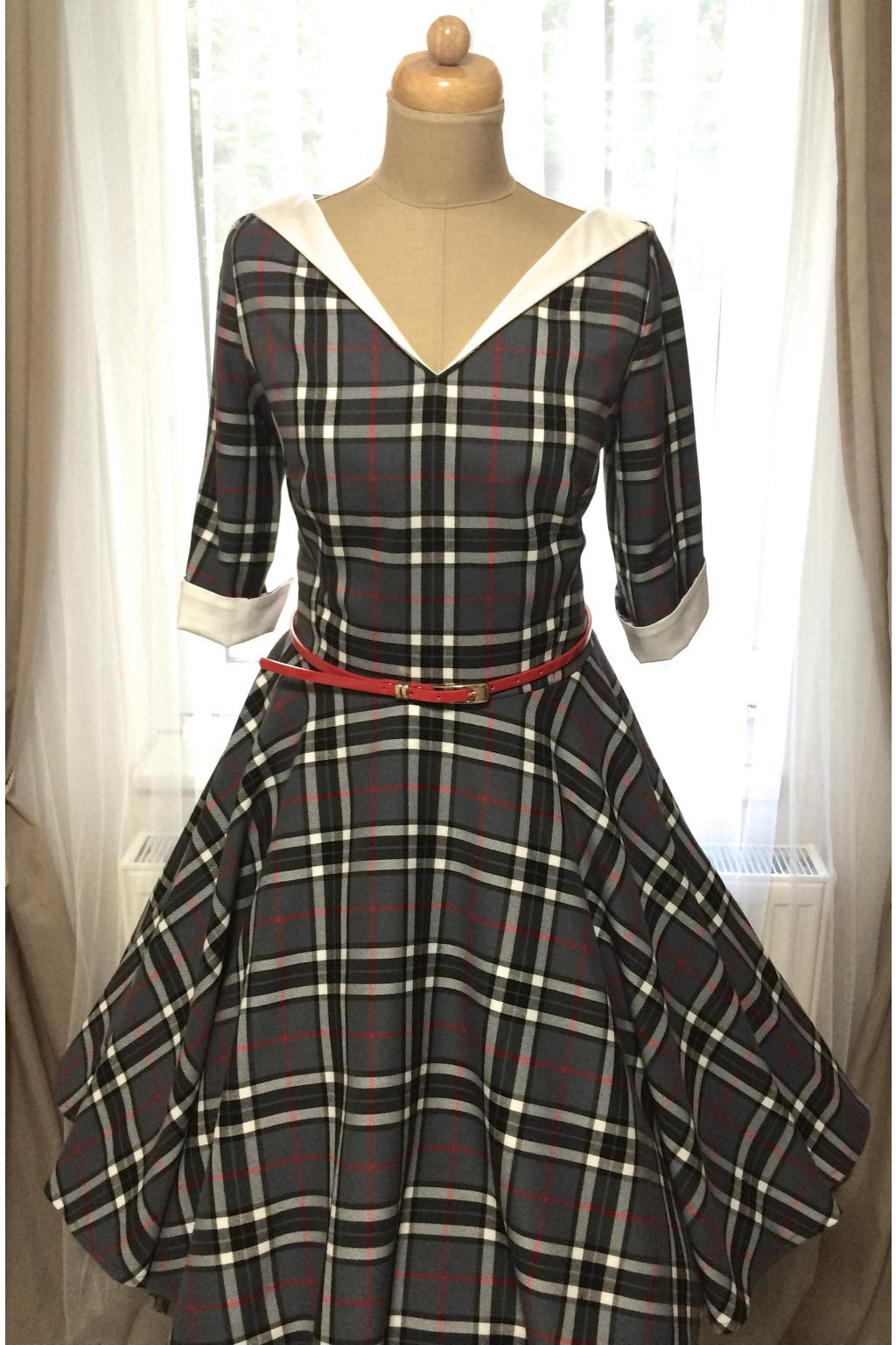 LOREN retro šaty s rukávem šedá kostka