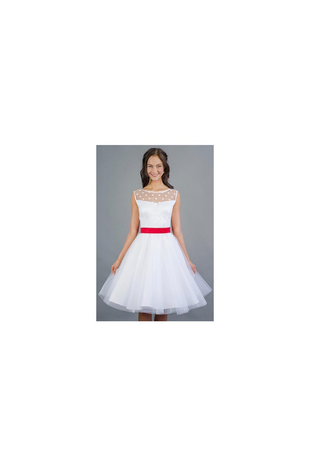 Svatební šaty s puntíkatým živůtkem a tylovou sukní.  kratke svatebni saty s puntiky 893387c0c7