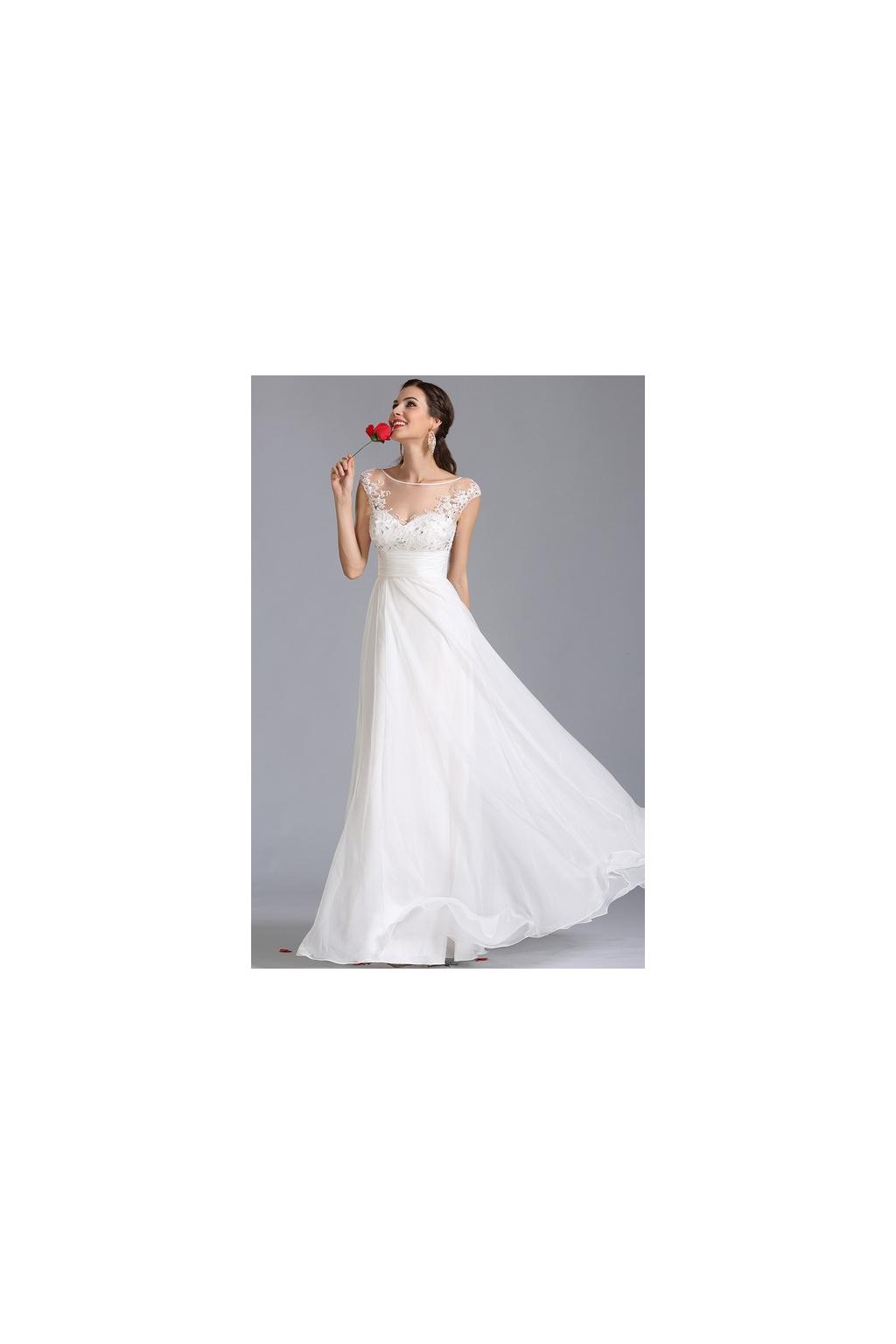 Jemné svatební šaty se zdobeným živůtkem, vel.36
