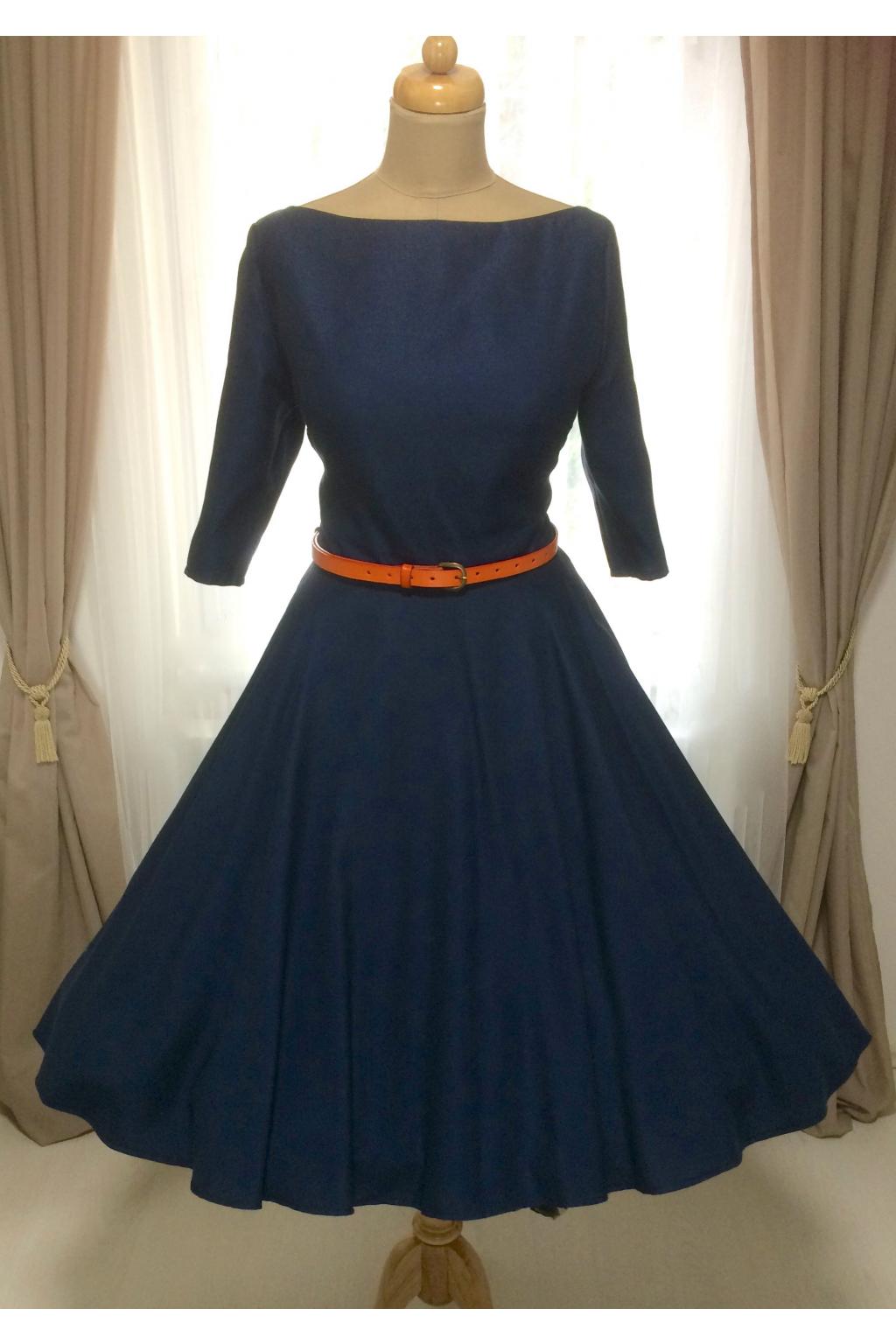 ADELE vlněné tmavě modré retro šaty
