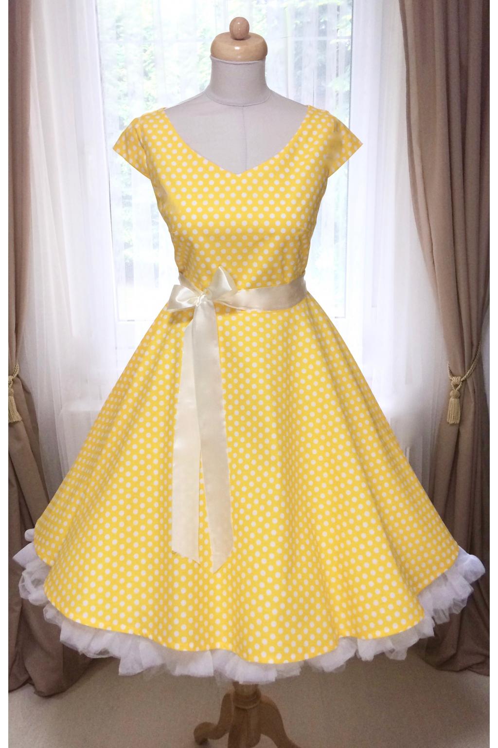 1d48511880a3 LOREN retro šaty žluté s puntíkem - MiaBella