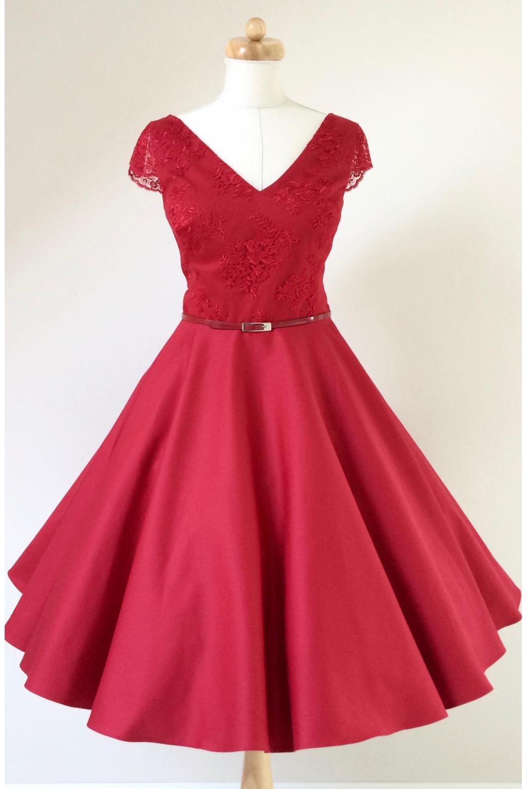 Krátké červené společenské šaty LOREN s krajkou - více barev