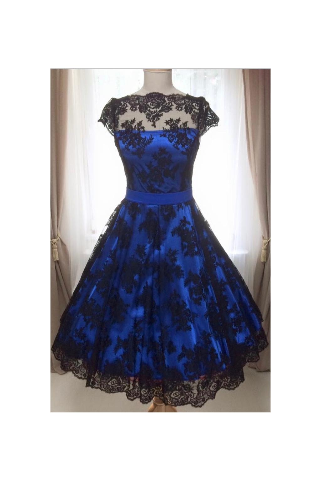Korzetové retro šaty modro-černé - více barev
