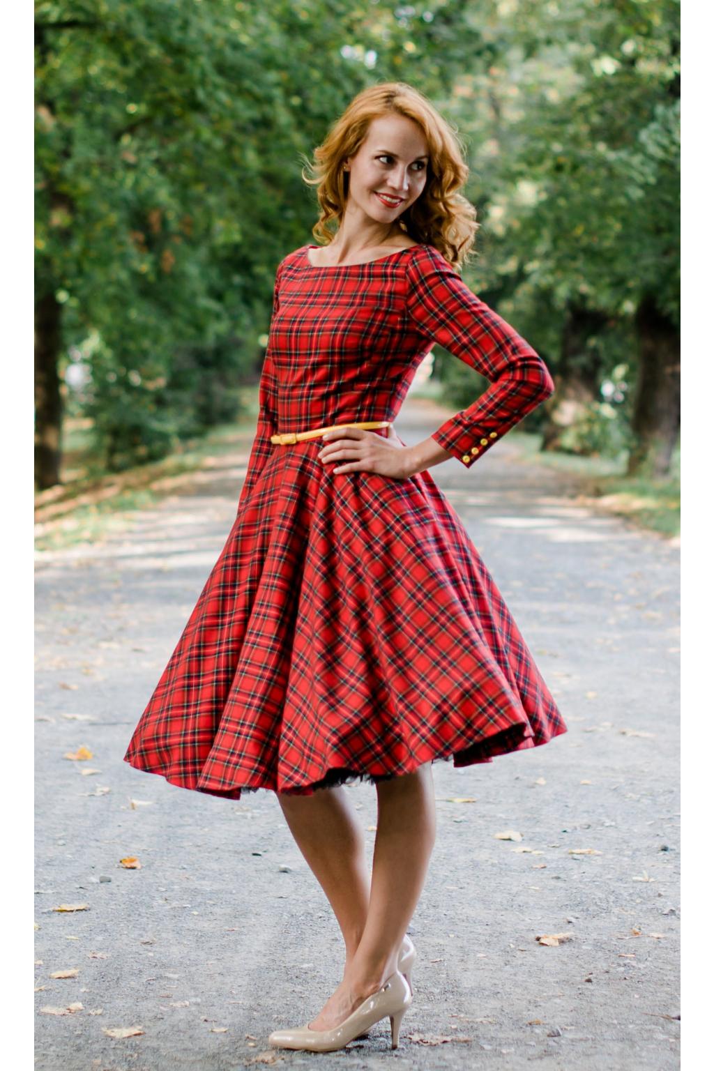 Červené kárované šaty s rukávy ADELE