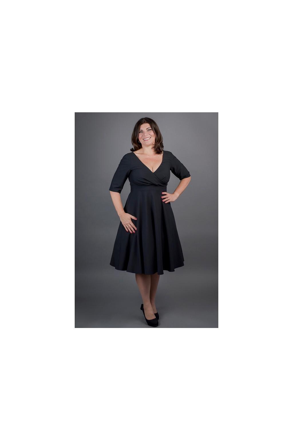 Šaty MARGARET se skládaným živůtkem - černá, tmavě modrá, královsky modrá