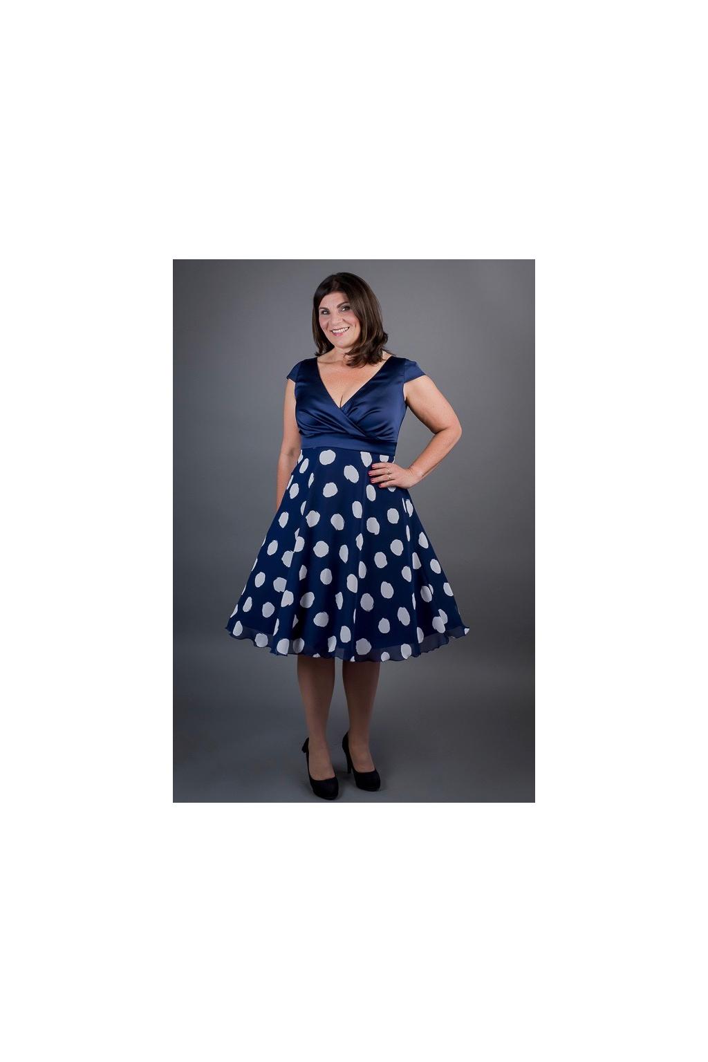 Tmavě modré šaty MARGARET se šifonovou sukní