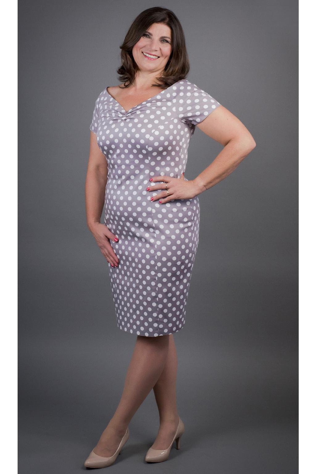 Pouzdrové šaty s puntíky - MiaBella ba53d1159a